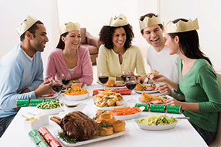 A group of people having Christmas dinner